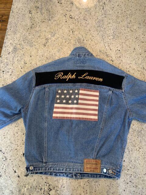 b108a5554 VTG Polo Ralph Lauren Country USA Flag Denim Jean Trucker Jacket 90s USA  Medium