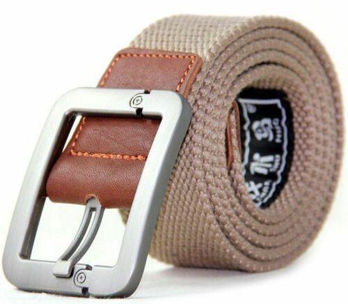 Unisex UK STYLE Webbing Mens Canvas Leather Pin Buckle Waist Belt Outdoors Belts