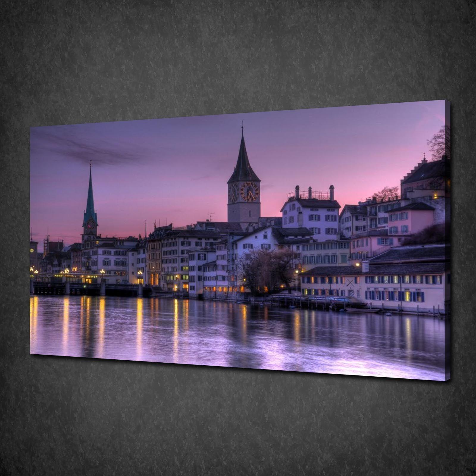 lila SKY ZURICH SWITZERLAND SKYLINE BOX CANVAS PRINT WALL ART PICTURE