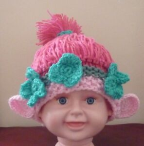 GIRL TROLL HAT  PINK  Hand Knitted   Crocheted  MADE TO ORDER  Ages ... 41c3a1e3fe9