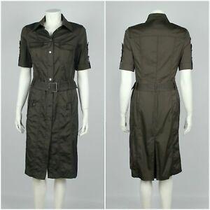 Womens Karen Millen Dress Shirt Short Sleeve Belted Brown Size UK14 / US10