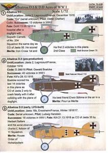 Print Scale Decals 1/72 ALBATROS D.I & D.II ACES German World War I Fighter
