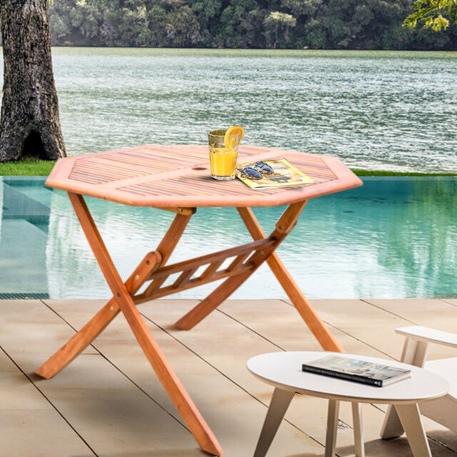 Outdor Indoor Foldable Dining Wooden Garden Table With Parasol Hole Fsc Approved