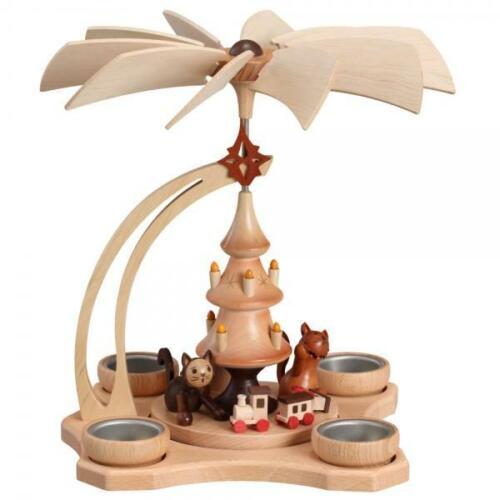 spielende Katzen Pyramide natur für 4 Teelichter Zeidler 0587 Erzgebirge