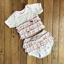 5021199114f8 Laura Dare Baby Girls White Ruffle Floral Top Bloomer Pajama Set 12m ...
