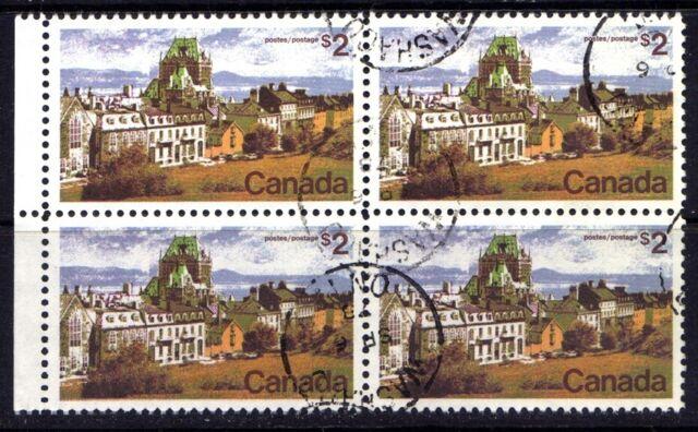 CANADA 1972-76 QUEBEC CITY $2 STAMPS, BLOCK OF 4 USED, Scott #601, Washago SOTN