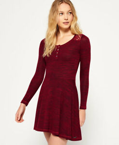 Womens Superdry Peggy Grandad Skater Dress Rich Berry Twist M