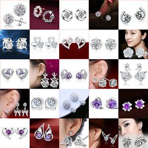 Women-039-s-Striking-Crystal-Topaz-925-Silver-Stud-Double-Clear-Rhinestone-Earrings