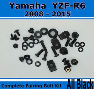 For Yamaha YZF-R125 2008-2015 Complete Fairing Bolt Screws Kit Fasteners Black