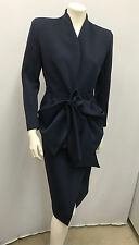 DONNA KARAN SUIT SET NAVY BLUE AMAZING HUGE SCULPTED BOW I 42 US 8 SIZE MEDIUM