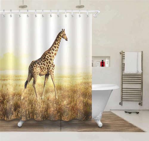 Giraffe Wheat Waterproof Bathroom Polyester Shower Curtain Liner Water Resistant