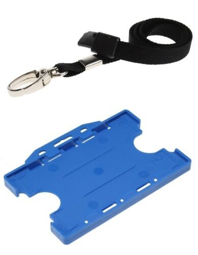 Light Blue Double Landscape ID Card Holder with Lobster Clip Breakaway Lanyard