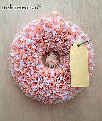 High Quality Handmade Rag Wreath (Mini Peach Easter Ring with Egg)