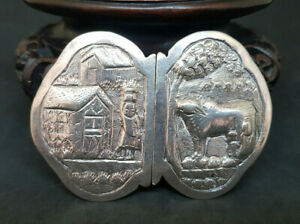 RARE-ANTIQUE-CHINESE-EXPORT-SOLID-SILVER-BELT-BUCKLE-44-4-G