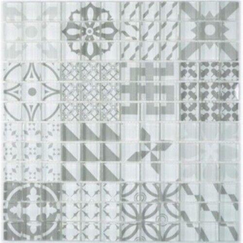 Retro Vintage Mosaik Fliese Transluzent Glas grau 88-Retro-35_f 10 Matten