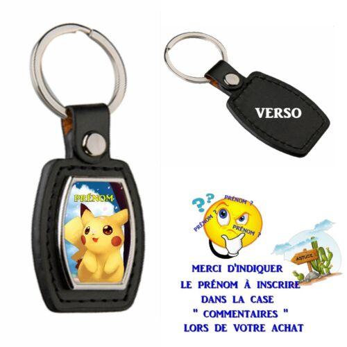 porte clé simili cuir pikachu personnalisé avec prénom choix réf 24