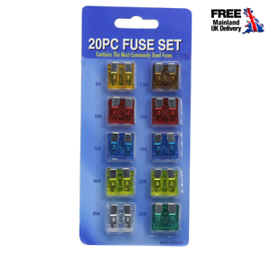 20-un-Fusible-de-cuchilla-estandar-de-automoviles-de-coche-Surtido-Fusibles-5-7-5-10-15-20-25-30-Amp