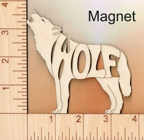 Wolf laser cut and engraved wood Magnet Great Gift Idea