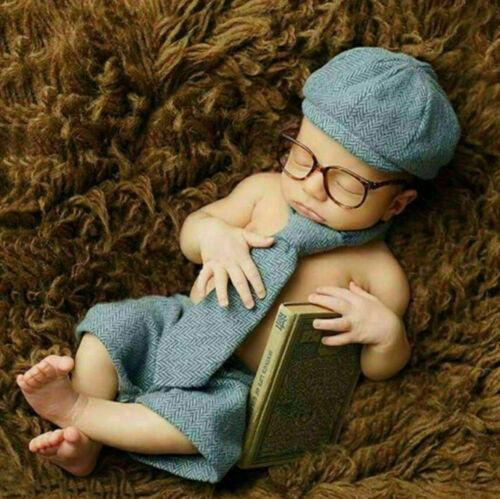 Neugeborene Baby Knit Strick Fotoshooting Gelehrte Kostüm Mütze Höschen Krawatte