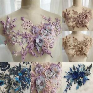3D-Flower-Embroidery-Bridal-Lace-Applique-Pearl-Beaded-Tulle-Wedding-Dress-DIY
