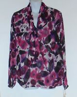 Essentials By A.b.s. Ladies Long Sleeve Sheer Print Bow Blouse Magenta Ten (10)