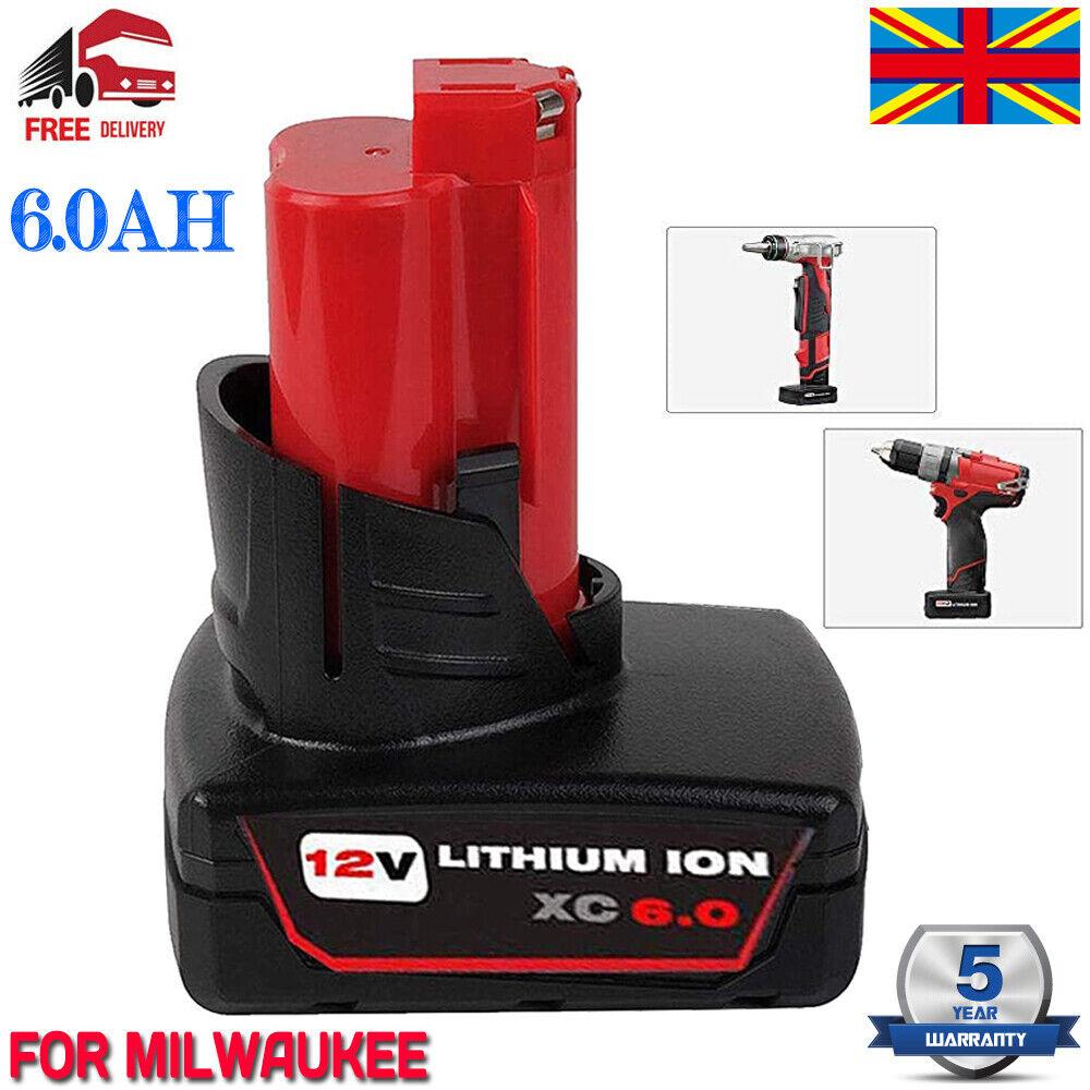 2X For Milwaukee M12 12V Battery XC 5.0 Ah Li-ion High Capacity M12B6 48-11-2460