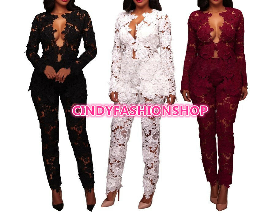 Women Lace Floral See Thu Two Piece Elegant Party Jumpsuit Rompers Club wear(A)
