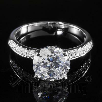 18K White Gold Wedding Engagement Round Set CZ Silver Womens Ladies Wedding Ring