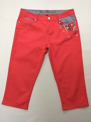 Womans Joe Browns Uk 12 Pink Cropped Trousers Summer Shorts Embroidered Floral