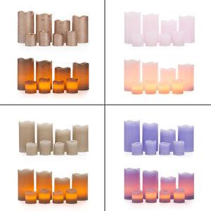 8 led echtwachskerzen mit timer 4 stumpenkerzen 4 teelichter kerzen mit batterie ebay. Black Bedroom Furniture Sets. Home Design Ideas