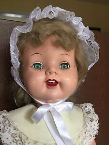 "Large Hard Plastic Mama 21"" Doll Green Eyes Nice Face 1950s Vintage"