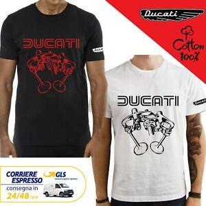 T-Shirt-Ducati-Desmo-Motore-uomo-Maglia-moto-nera-cotone-100-maglietta