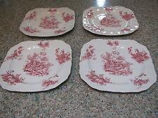"Johnson Bros. red tsfrware Pastorale Toile De Jouy 4-7 3/4"" square plates-Eng"