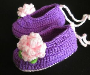 Baby Knitted Shoes Girls Handmade Booties Crochet Purple Ballet