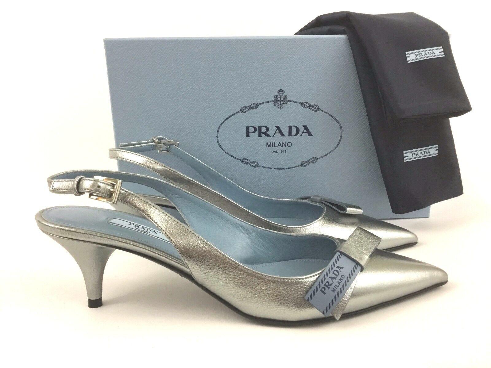 PRADA Logo Bow Silver Leather Slingback Pump 38 8