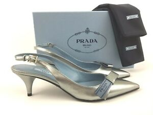 12c1ce83352 Image is loading PRADA-Logo-Bow-Silver-Leather-Slingback-Pump-39-