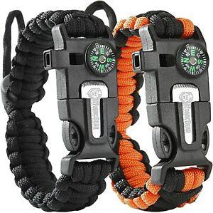 Atomic Bear Paracord Survival Bracelets (2 Pack) - Adjustable - Fire Starter - L