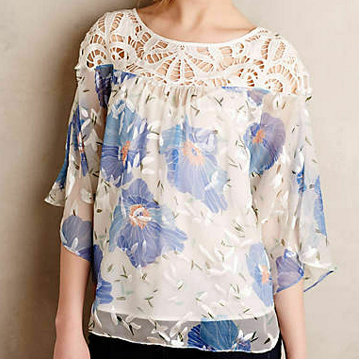 Anthropologie Vanessa Virginia damen Top Größe 6 Blau Peasant Florafall