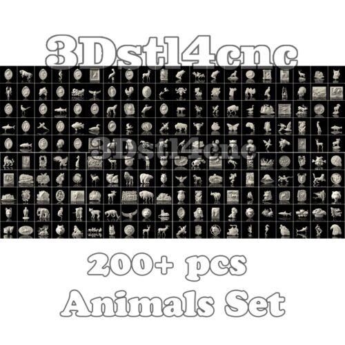 200 Modelos 3D STL Animales Set Para Cnc Router Talla de tipo Aspire