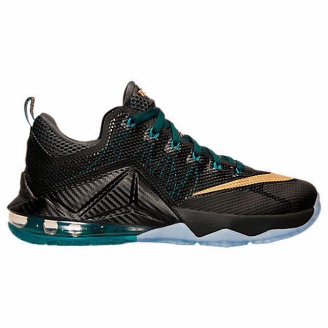 Size 7.5 / 10.5 / 12 Nike Men LEBRON XII 12 LOW 724557 070 Black Gold Green