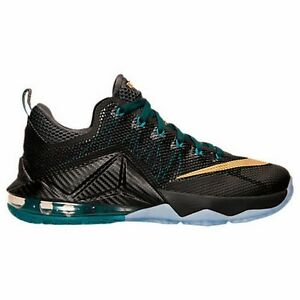 a92854ded40 Details about Size 7.5   10.5   12 Nike Men LEBRON XII 12 LOW 724557 070  Black Gold Green
