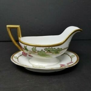 RARE-Antique-LIMOGES-Blakeman-amp-Henderson-Hand-Painted-Gravy-Boat-Under-Plate