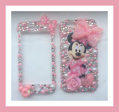Bling Iphone front & back clip case protective minnie mouse barbie pink bow rose