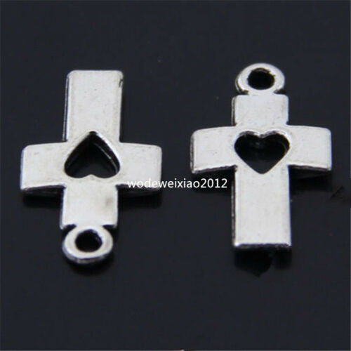 20 x retro Tibet silver loving heart Cross Pendant Charm Beads accessories PL117