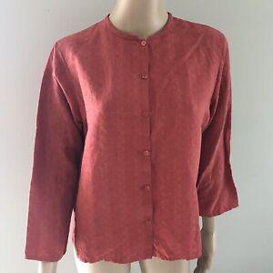 03e9239c9 Eileen Fisher Buttons Down Shirt Blouse Red Silk Linen Long Sleeve ...