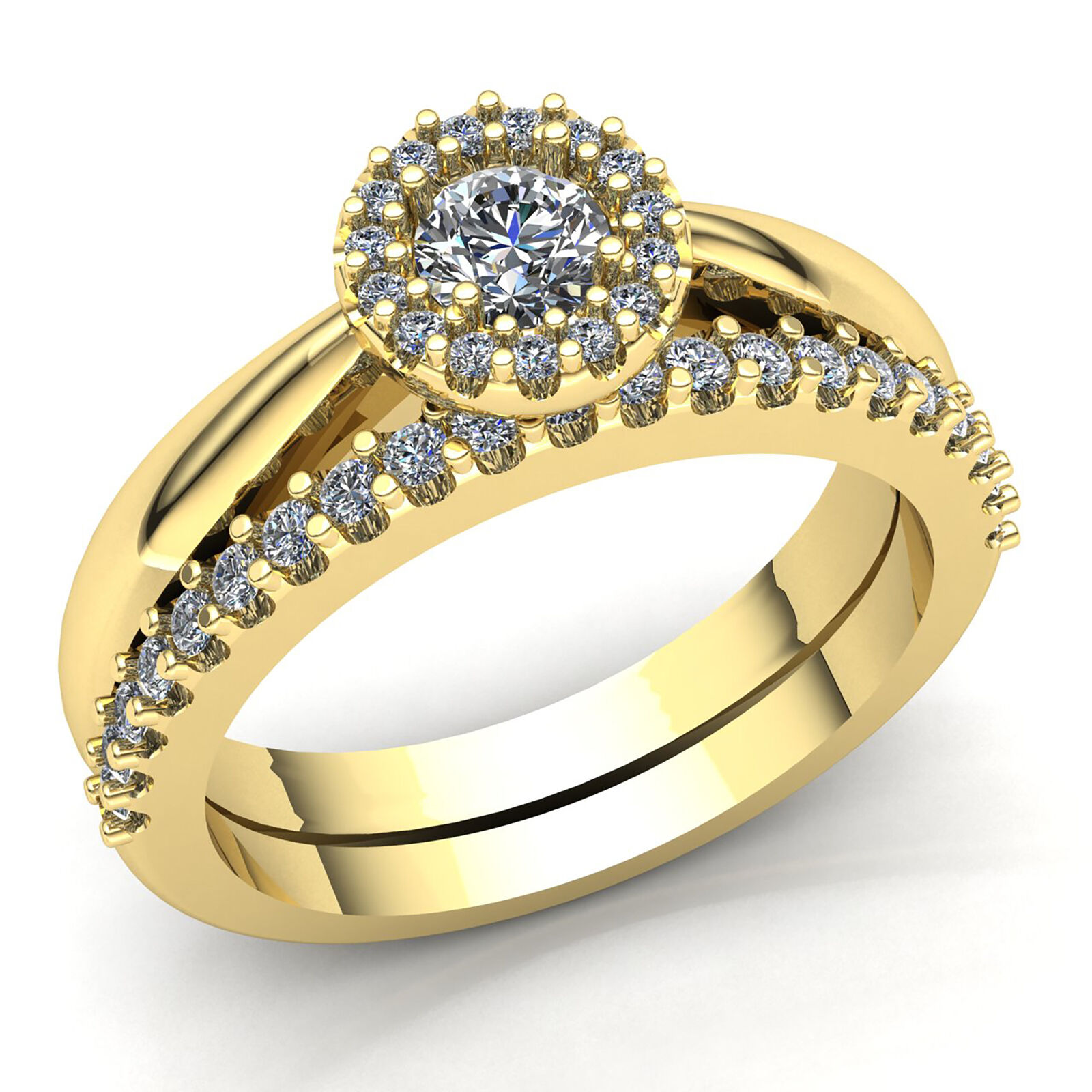 Genuine 2ct Round Cut Diamond Ladies Solitaire Accent Engagement Ring 10K gold