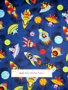 Space alien fabric rocket monster planet star timeless for Fabric planet