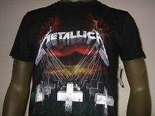 Mens Med Metallica Master Of Puppets Grave Cross Metal Rock Band Group Tee Shirt