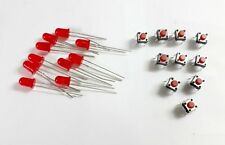 10 Pcs 5 MM Red Led + 10 Pcs Pushbutton Switch 4 pin Tactile / Micro Switches