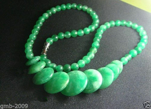 """Beautiful Natural Green Cold Jade Gemstone Round/&Coin Beads Necklace 17/""""AAA"""